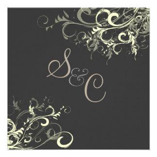 PixDezines cream swirls+graphite Personalized Invite