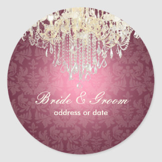 PixDezines crystal chandelier/baroque damask Classic Round Sticker