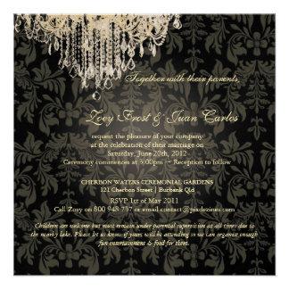 PixDezines Crystal Chandelier + Baroque Damask Invites