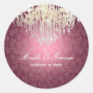 PixDezines crystal chandelier/baroque damask Round Sticker