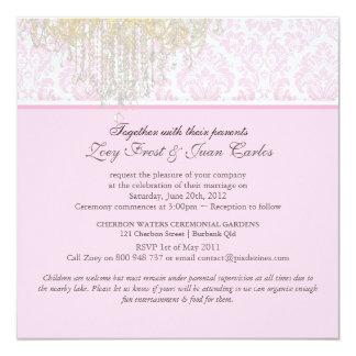 PixDezines Crystal Chandelier + Moiré Damask 13 Cm X 13 Cm Square Invitation Card