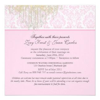 PixDezines Crystal Chandelier + Moiré Damask Invitation