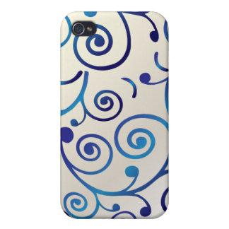 PixDezines Cupcake Swirls, blue+faux pearl iPhone 4/4S Case