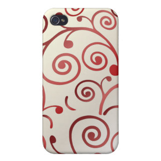 PixDezines Cupcake Swirls, red+faux pearl Cases For iPhone 4