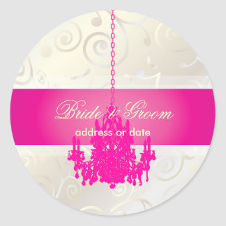 PixDezines Cupcakes Swirls+Hot Pink Chandelier Round Sticker
