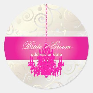 PixDezines Cupcakes Swirls+Hot Pink Chandelier Round Sticker