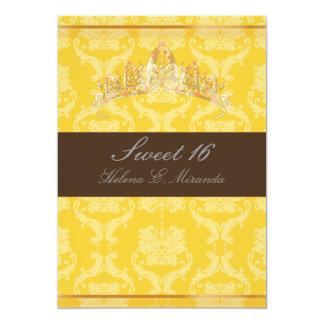 PixDezines Damask Sweet 16/ tiara/yellow+chocolate Card