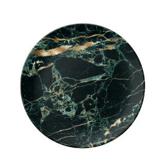 PixDezines DARK GREEN MARBLE/FAUX GOLD VEINS Porcelain Plate