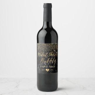 PixDezines Dazzled Faux Gold Confetti/Marble Wine Label