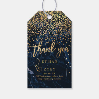 PixDezines Dazzled Faux Gold/Midnight Blue Marble Gift Tags