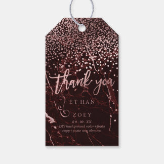 PixDezines Dazzled Faux Rose Gold/Red Marble Gift Tags