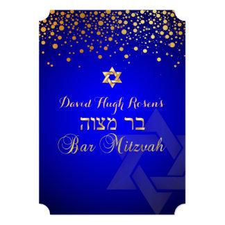 PixDezines dazzled gold/Bar Mitzvah/royal blue Invites
