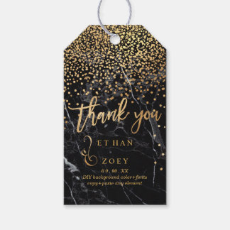 PixDezines Dazzled in Faux Gold/Black Marble Gift Tags