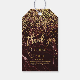 PixDezines Dazzled in Faux Gold/Masala Red Marble Gift Tags