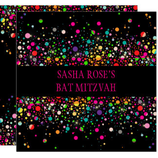 PixDezines Dazzled/Neon Specks/Bat Mitzvah Card
