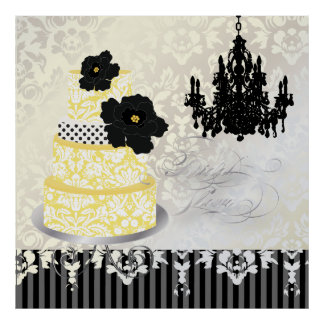 PixDezines desiree damask cake+chandelier Poster