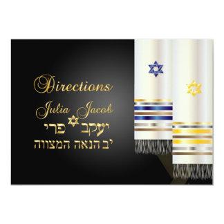PixDezines directions/talit/bnai mitzvah 11 Cm X 16 Cm Invitation Card