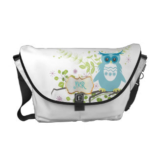 PixDezines diy background color/blue owl Messenger Bags