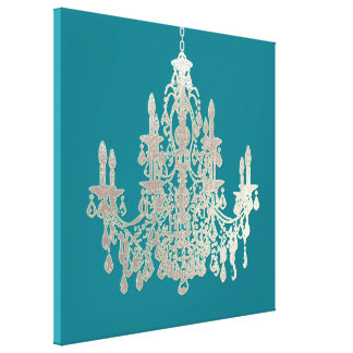 PixDezines DIY Background Color/Silver Chandelier Gallery Wrapped Canvas