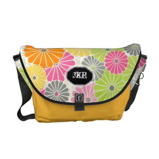 PixDezines DIY background/kiku/retro floral Messenger Bag