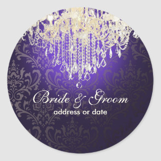 PixDezines DIY color crystal chandelier Classic Round Sticker