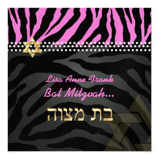 PixDezines diy color, Hot Pink Zebra, Bat Mitzvah 13 Cm X 13 Cm Square Invitation Card