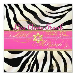 PixDezines DIY color/natural Zebra, Bat Mitzvah 13 Cm X 13 Cm Square Invitation Card