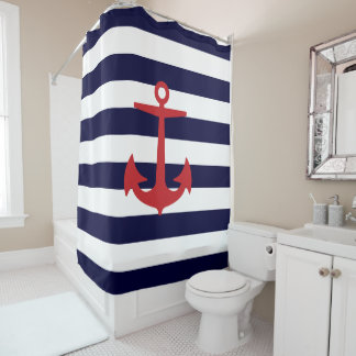 PixDezines DIY color Nautical Stripes/Red Anchor Shower Curtain