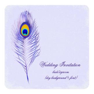 PixDezines DIY color/peacock plume 13 Cm X 13 Cm Square Invitation Card