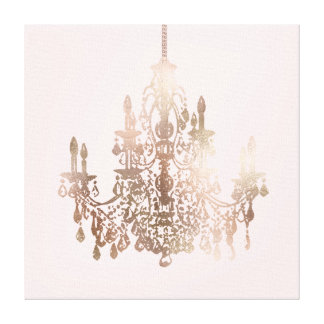 PixDezines DIY Color/Rose Gold Chandelier Canvas Print