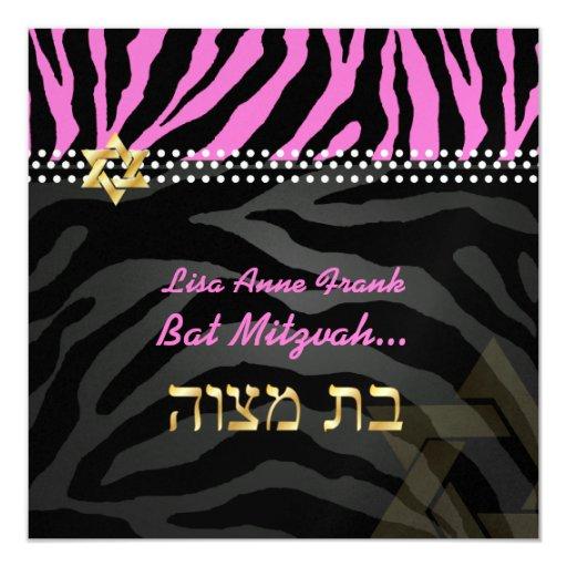 PixDezines diy colour, Hot Pink Zebra, Bat Mitzvah 13 Cm X 13 Cm Square Invitation Card