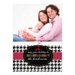 PixDezines diy colour/houndstooth holiday card Custom Announcement