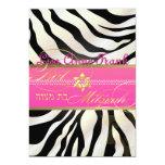 PixDezines DIY colour/natural Zebra, Bat Mitzvah 13 Cm X 18 Cm Invitation Card
