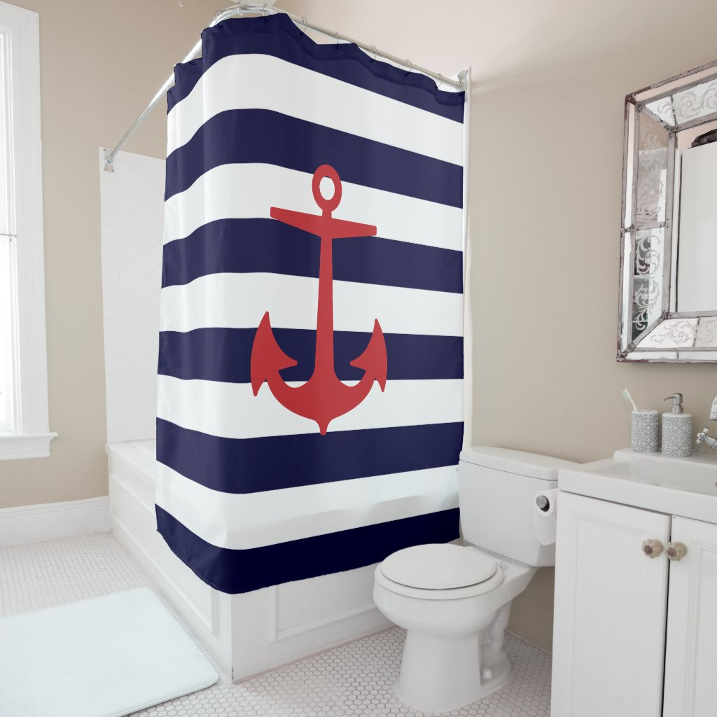 PixDezines DIY colour Nautical Stripes/Red Anchor Shower Curtain
