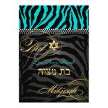 PixDezines DIY colour Teal Zebra, Bat Mitzvah 13 Cm X 18 Cm Invitation Card