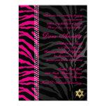PixDezines DIY colours Pink Zebra, Bat Mitzvah 13 Cm X 18 Cm Invitation Card