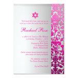 PixDezines DIY flora damask/Mitzvah/pink/silver 13 Cm X 18 Cm Invitation Card