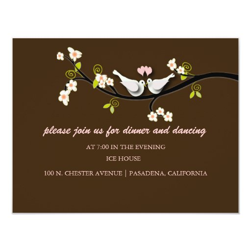 PixDezines doves/love birds/diy background colour! 11 Cm X 14 Cm Invitation Card