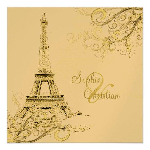PixDezines Eiffel Tower + swirls Invitation