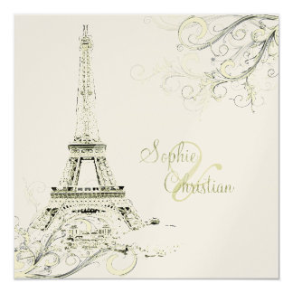 PixDezines Eiffel Tower + swirls Invitation