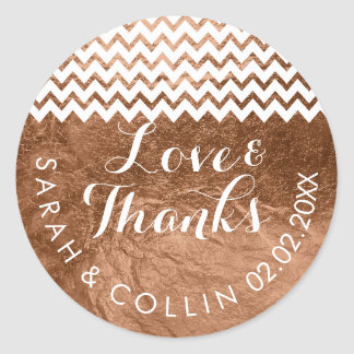 PixDezines faux foil/copper/thanks/DIY text Classic Round Sticker