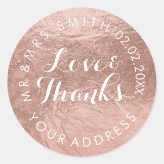PixDezines faux foil/Rose Gold/thanks/DIY text Round Sticker
