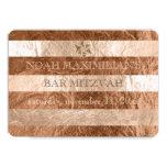 PixDezines faux foil/silver stripes bar mitzvah 13 Cm X 18 Cm Invitation Card