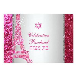 PixDezines faux glitter eiffel/mitzvah celebration 9 Cm X 13 Cm Invitation Card
