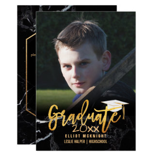 PixDezines Faux Gold /Black Marble Graduation Card