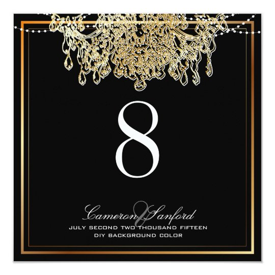 PixDezines faux gold chandeliers/table numbers Card