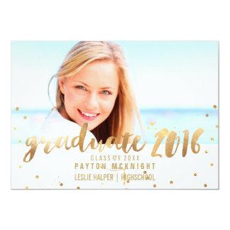 PixDezines Faux Gold Confetti Graduation 13 Cm X 18 Cm Invitation Card