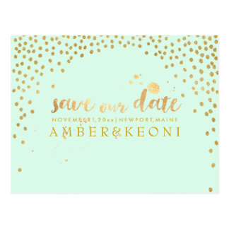 PixDezines faux gold/confetti/save date/DIY color Postcard
