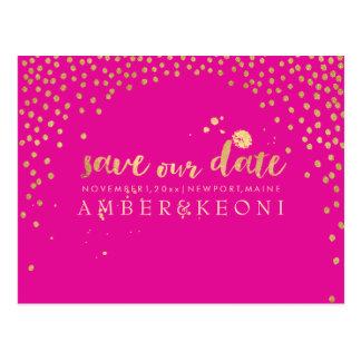 PixDezines faux gold/confetti/save date/DIY color Postcard