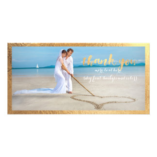 PixDezines faux gold frame/thank you wedding photo Customized Photo Card